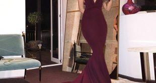 mermaid prom dresses mermaid style maroon deep v-neck court train backless prom dress wpjprha