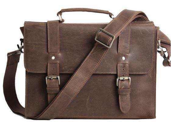 messenger bags for men premium crazy horse leather vintage laptop bag in unisex dark brown mfajrtu