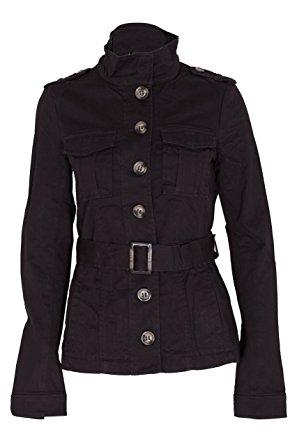 military style jacket ladies military style summer jacket (2(uk 6), belt black) gpjozak