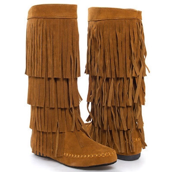 moccasin boots black mid calf knee high fringe flat moccasin boot vpxfcsy