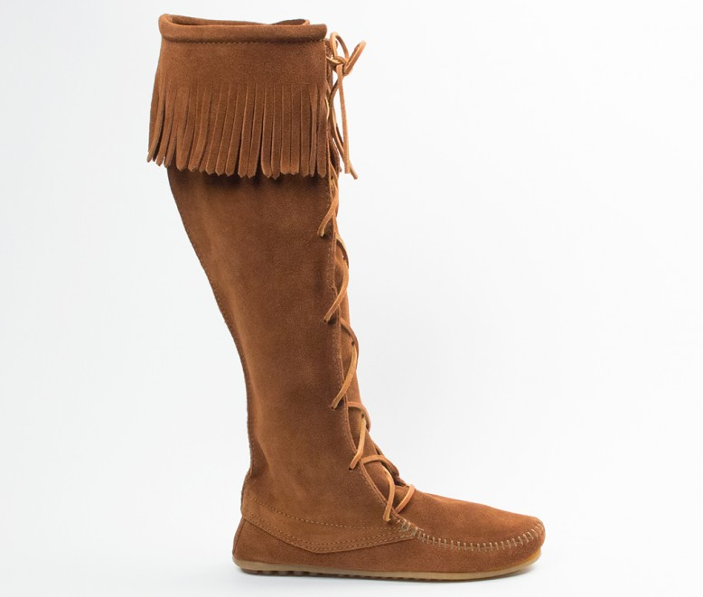 moccasin boots front lace knee high boot (women) | 1422 | brown | 4 pfxrrcs