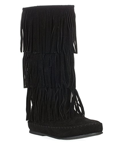 moccasin boots pierre dumas womens apache-4 moccasin fringe boots,black,5.5 tmgxlty