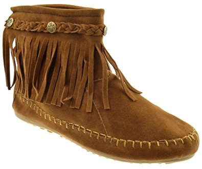 moccasin boots tg 01 fringe moccasin ankle boots tan 6 xihnloa