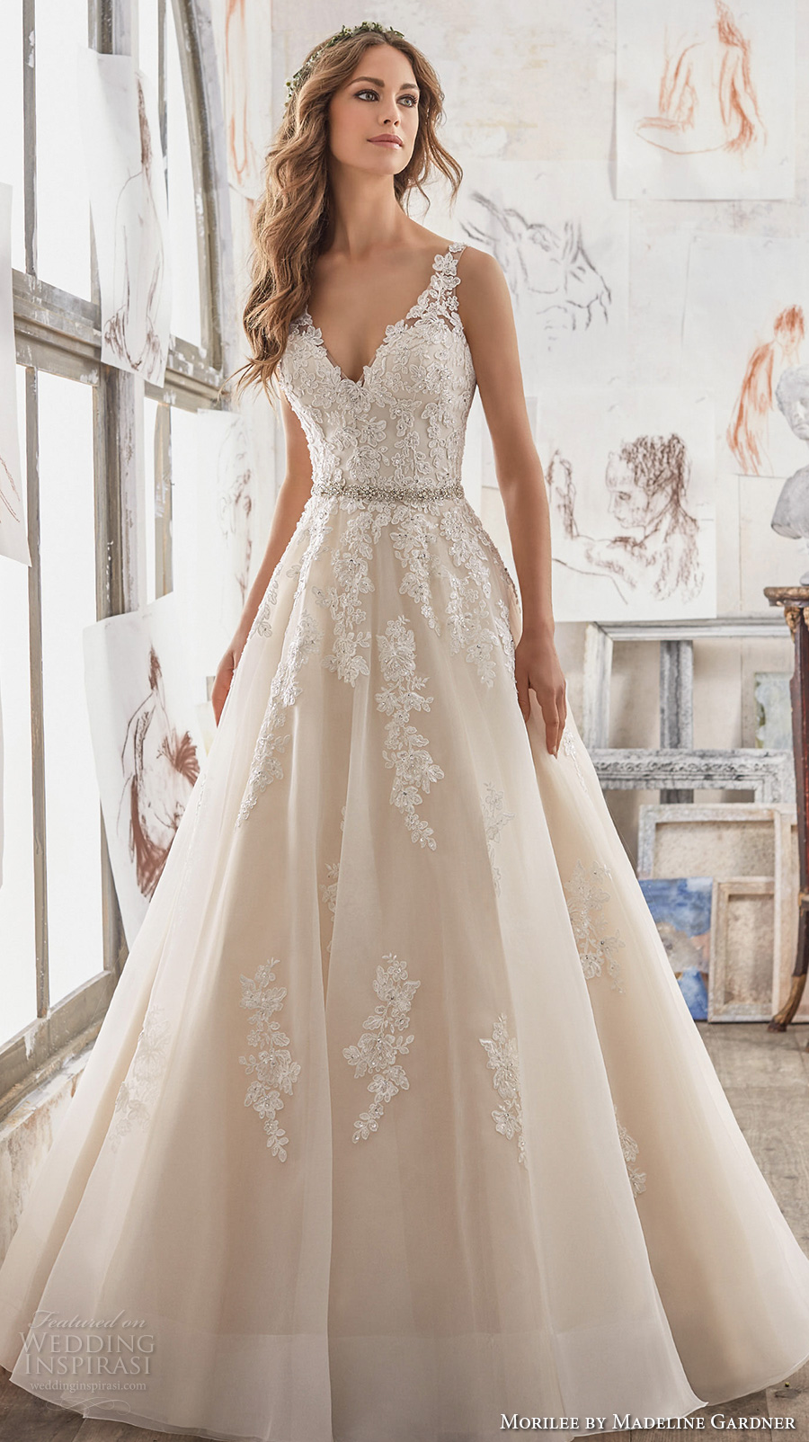 mori lee wedding dresses morilee spring 2017 bridal sleeveless embroidered strap v neck heavily  embellished bodice zmivyzx