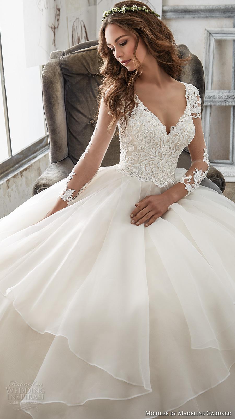 mori lee wedding dresses morilee spring 2017 bridal three quarter sleeves sweetheart neckline  heavily embellished bodice bngvxfs