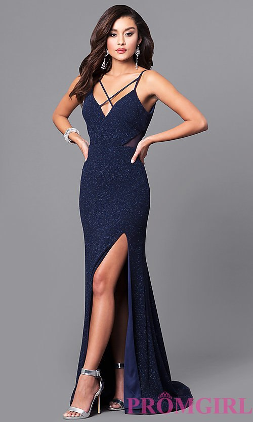 navy blue dress image of glitter navy blue long prom dress with open back. style: dmo- icslozy