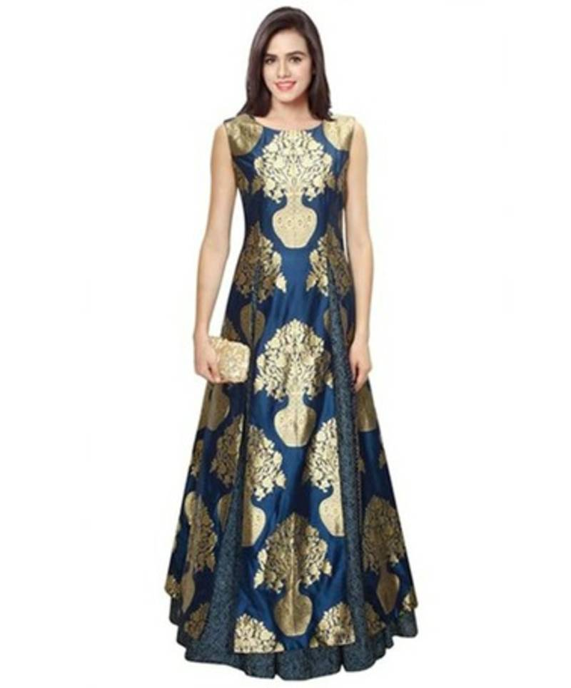 navy blue printed semi stitched party wear gown vfcedyq