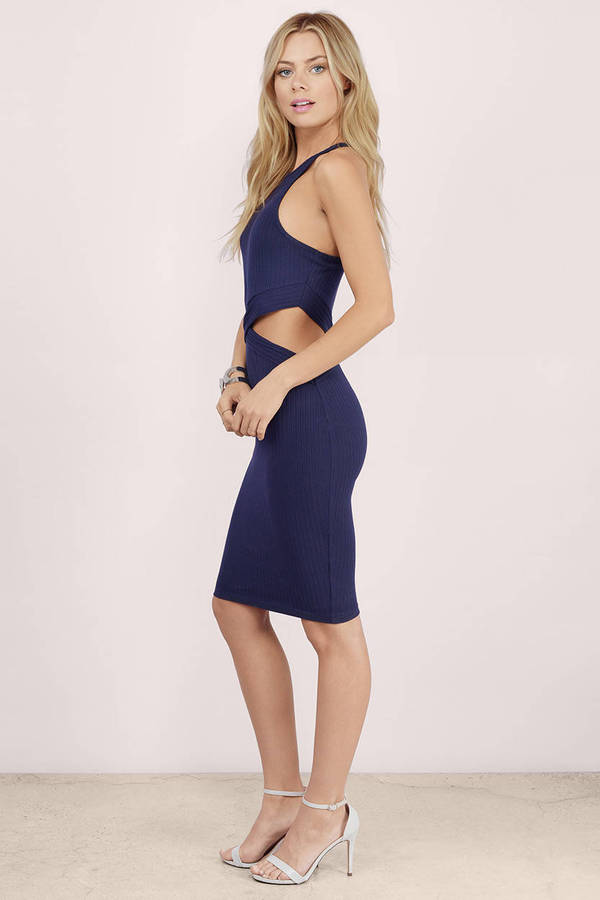 navy dresses ... dare devil navy ribbed midi dress ... rnmaeik