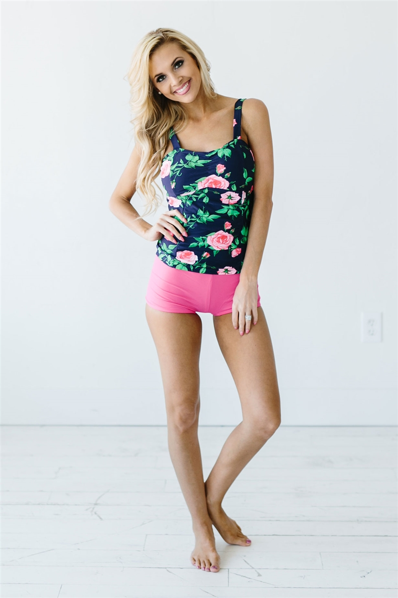 navy pink floral tankini top modest swimsuit, modest swimwear, cute one  piece qfgyhbh