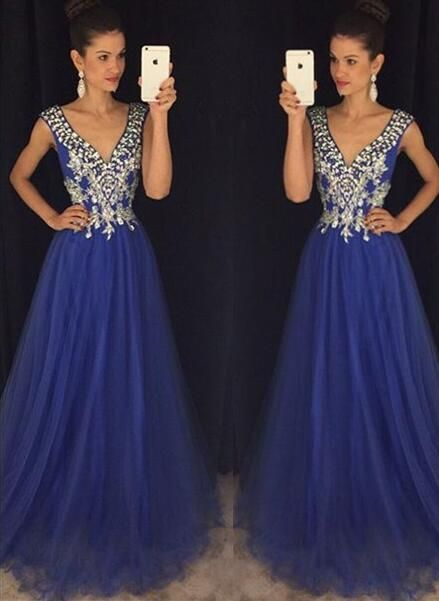new arrival royal blue prom dresses,v neck a