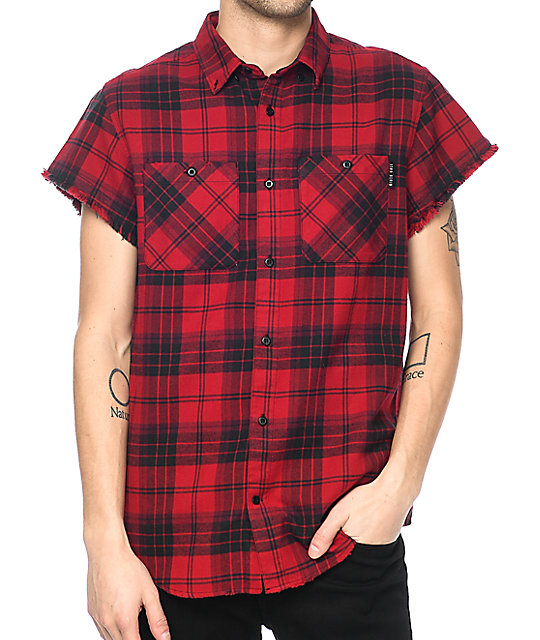ninth hall enzo red u0026 black destroyed short sleeve flannel shirt ... njkxklj