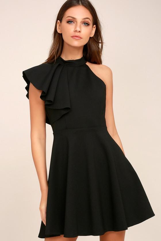 one shoulder dresses chic goals black one-shoulder skater dress 2 insnebm