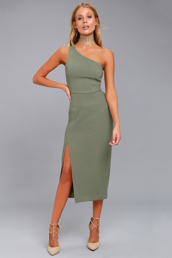 one shoulder dresses finders keepers haunted olive green one-shoulder midi dress 1 kauxeus