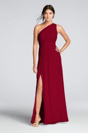 one shoulder dresses long ivory soft u0026 flowy davidu0027s bridal bridesmaid dress irrrlhe