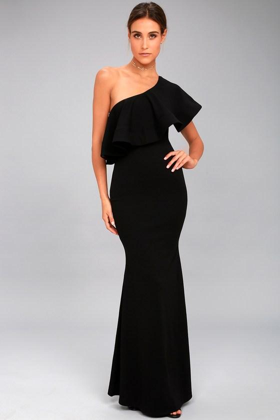 one shoulder dresses so amazed black one-shoulder maxi dress 1 xbauwzc