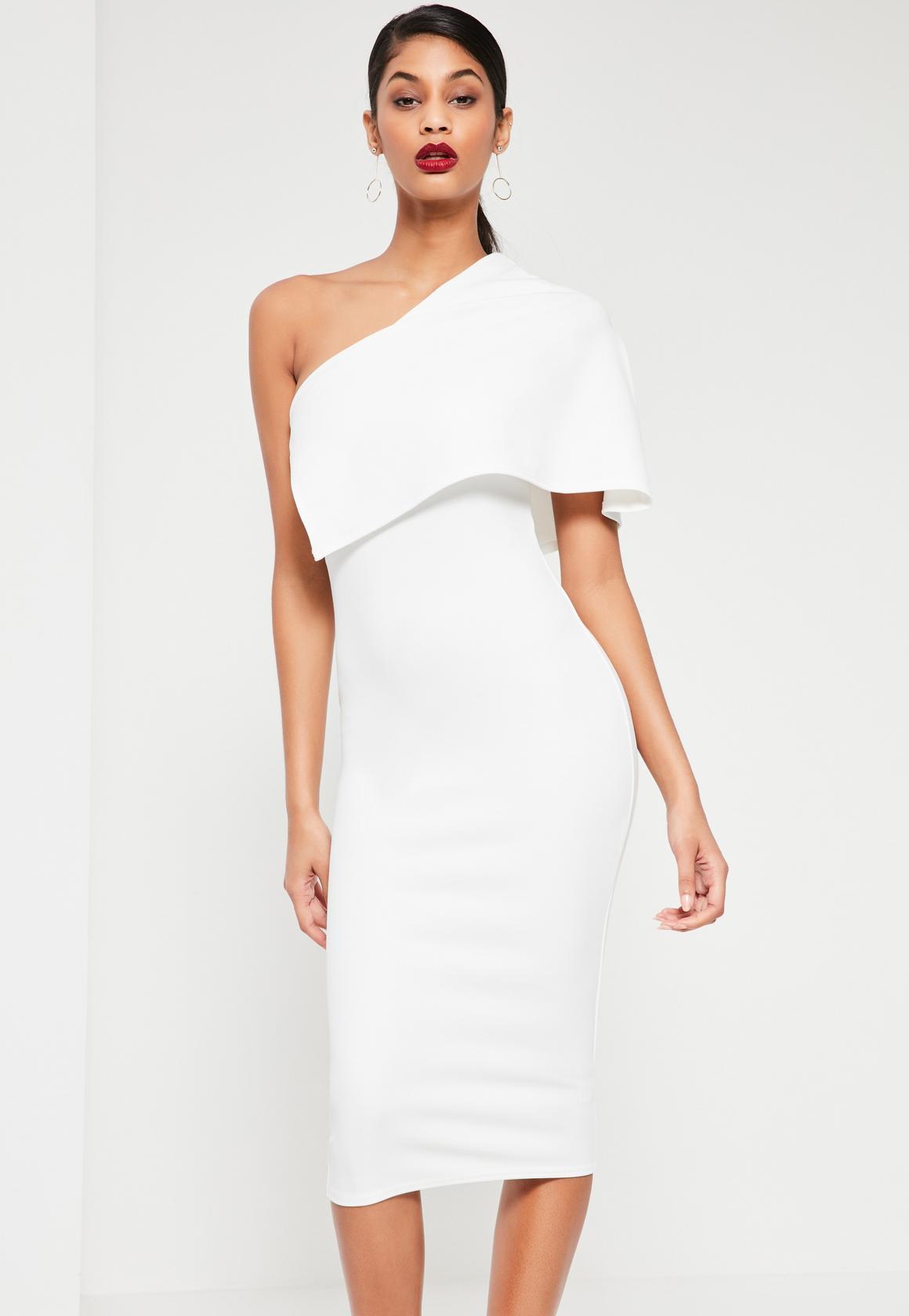 one shoulder dresses white one shoulder cape midi dress bwhmmek