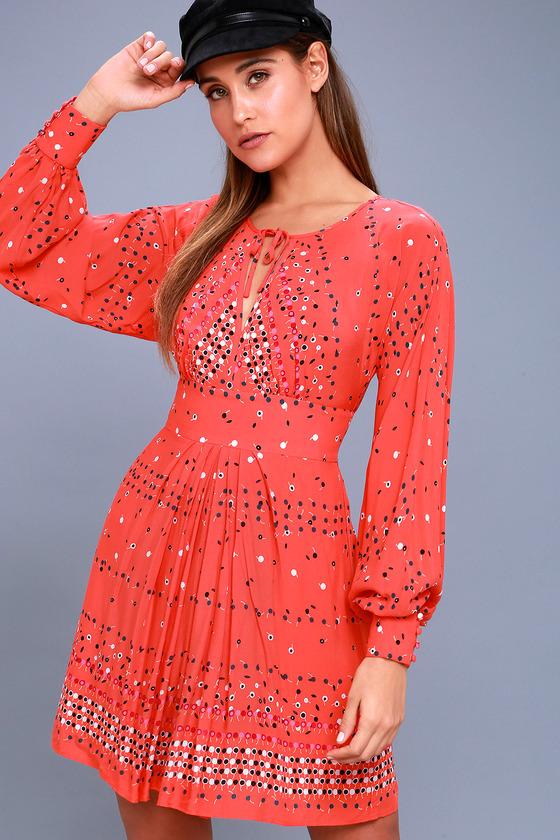 orange dresses coryn coral orange print long sleeve