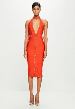 orange dresses ... peace + love orange plunge bandage midi dress qvherjw