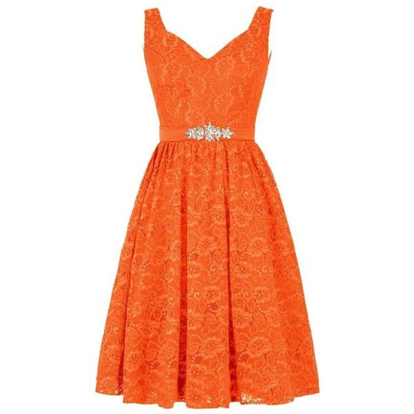 orange dresses queensroyal lace short beaded belt straps flower decoration prom... ($98) ❤ pvkldfz