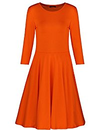 orange dresses womenu0027s 3/4 sleeve casual cotton flare dress xuroaxh