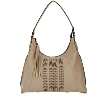 oryany pebble leather hobo bag w/ braided detail - alli - a289575 tnemcvi