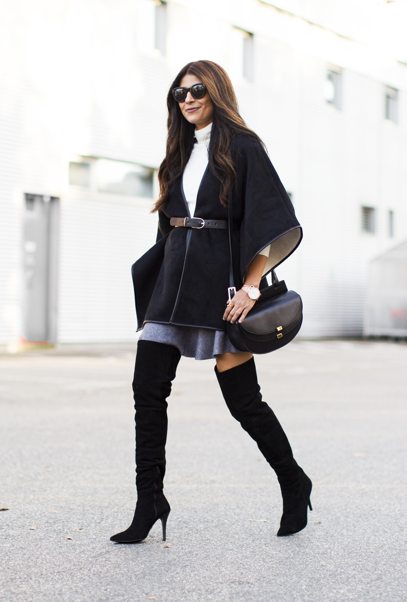 over knee boots a cape coat will look fabulous worn with over the knee boots and efntdoz