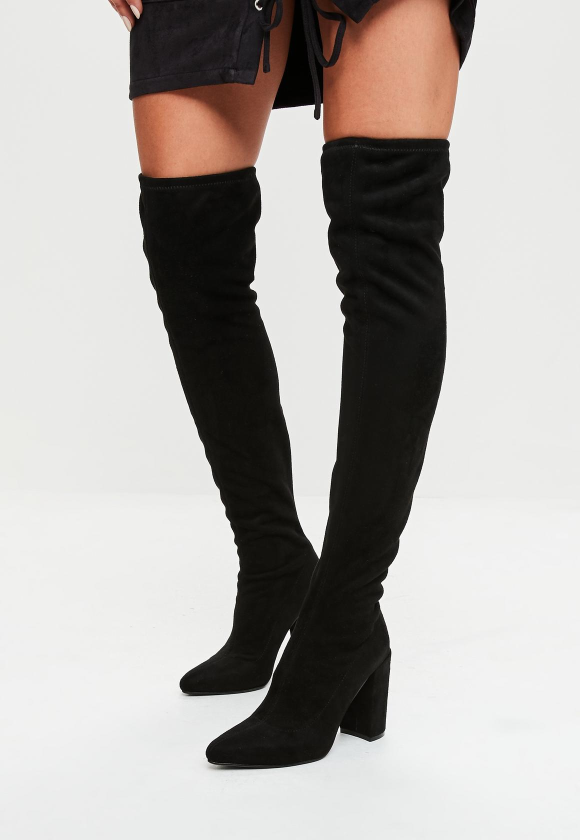 over knee boots black faux suede over the knee boots lynbwny