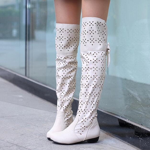 over the knee leather boots cutout women summer boots 2016 summer leather gvxwdte