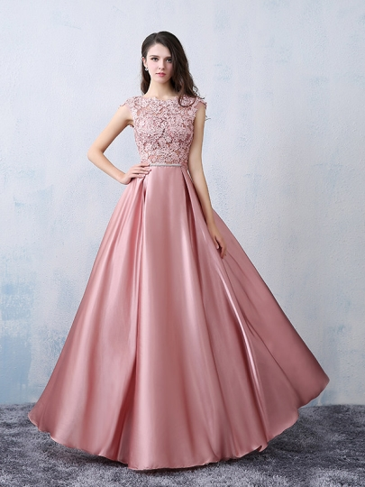 party gowns a-line appliques cap sleeve bowknot long evening dress suypwds