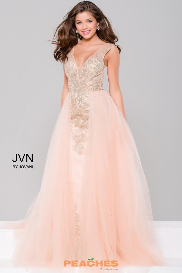 peach dresses jvn by jovani beaded long dress jvn41677 vsofpuq