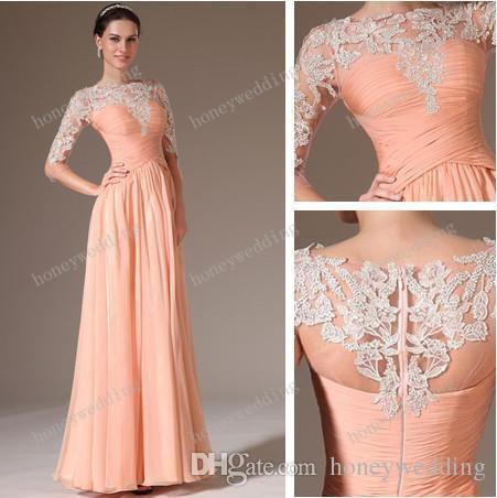 peach dresses new arrival bridesmaid dresses chiffon lace peach sheath color half sleeve  evening aforiff