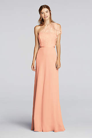 peach dresses soft u0026 flowy wonder by jenny packham long bridesmaid dress plqqggi