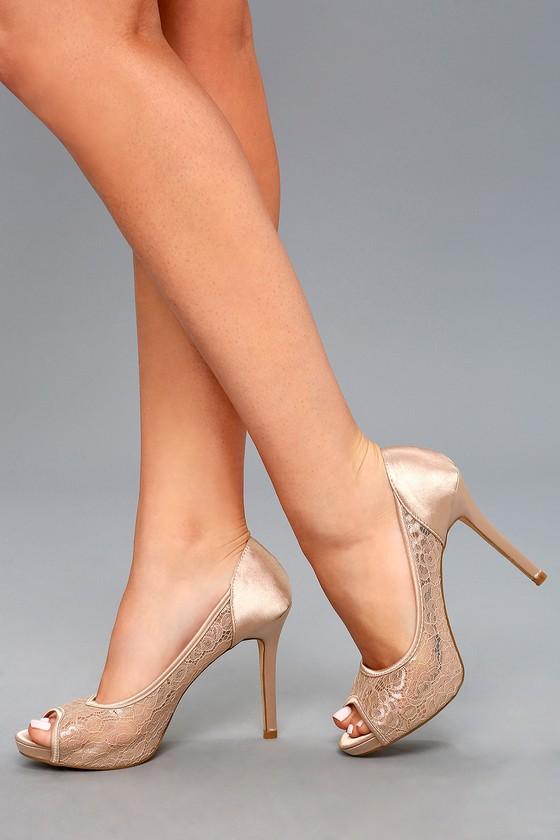 peep toe heels alannah nude lace peep-toe heels 4 hfuajne