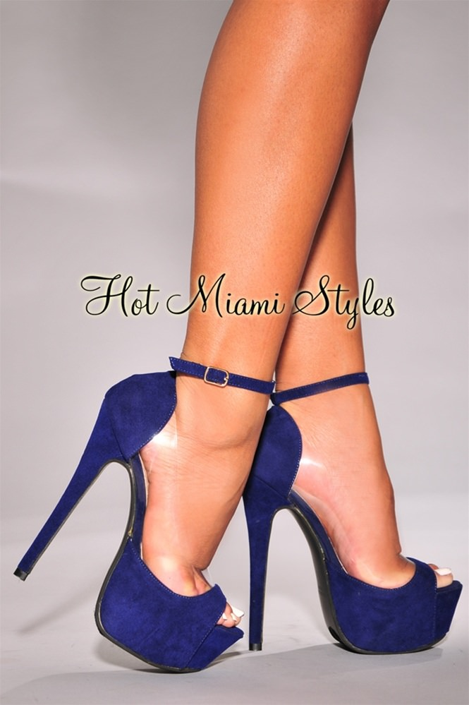 peep toe heels royal-blue peep-toe clear accent high heel pumps gawygmz