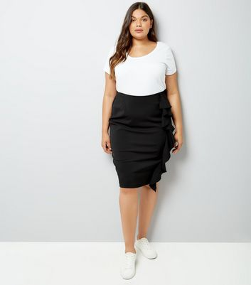 pencil skirts ... curves black frill trim pencil skirt ptiydby lgjqmnz
