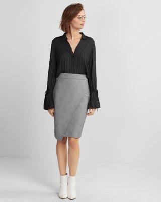 pencil skirts high waisted plaid wrap pencil skirt   express jumkjkc