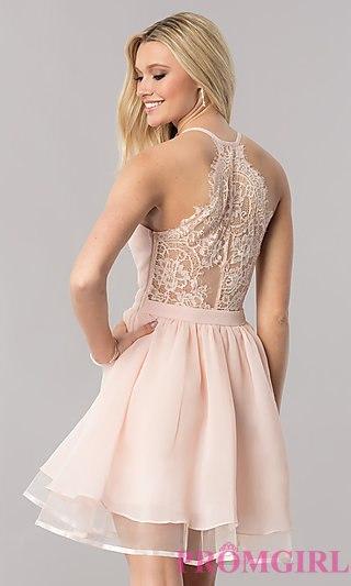 pink dress lace-racerback short homecoming dress - promgirl rvoltir