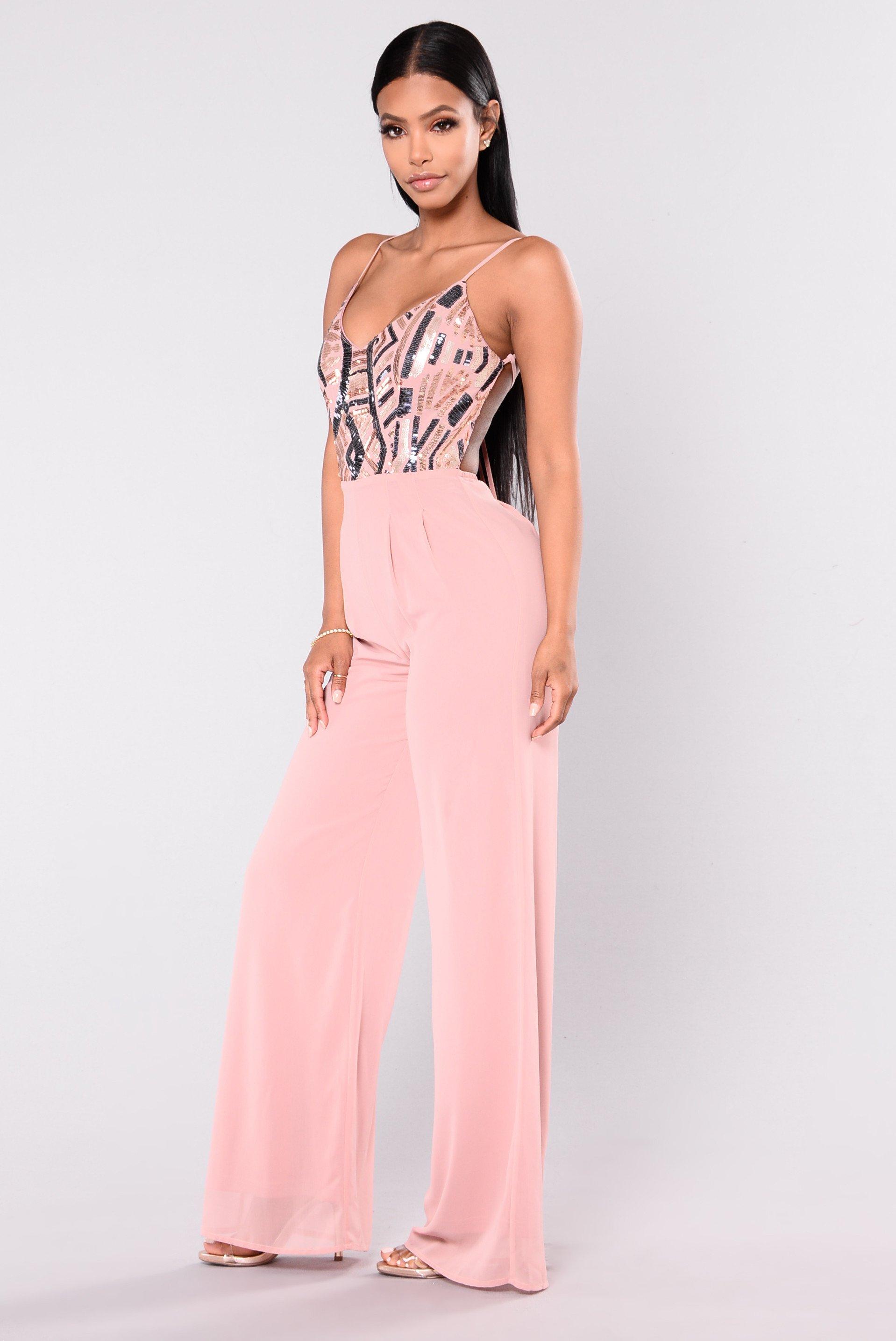 pink jumpsuit fashionably late sequin jumpsuit - pink jkpsusz