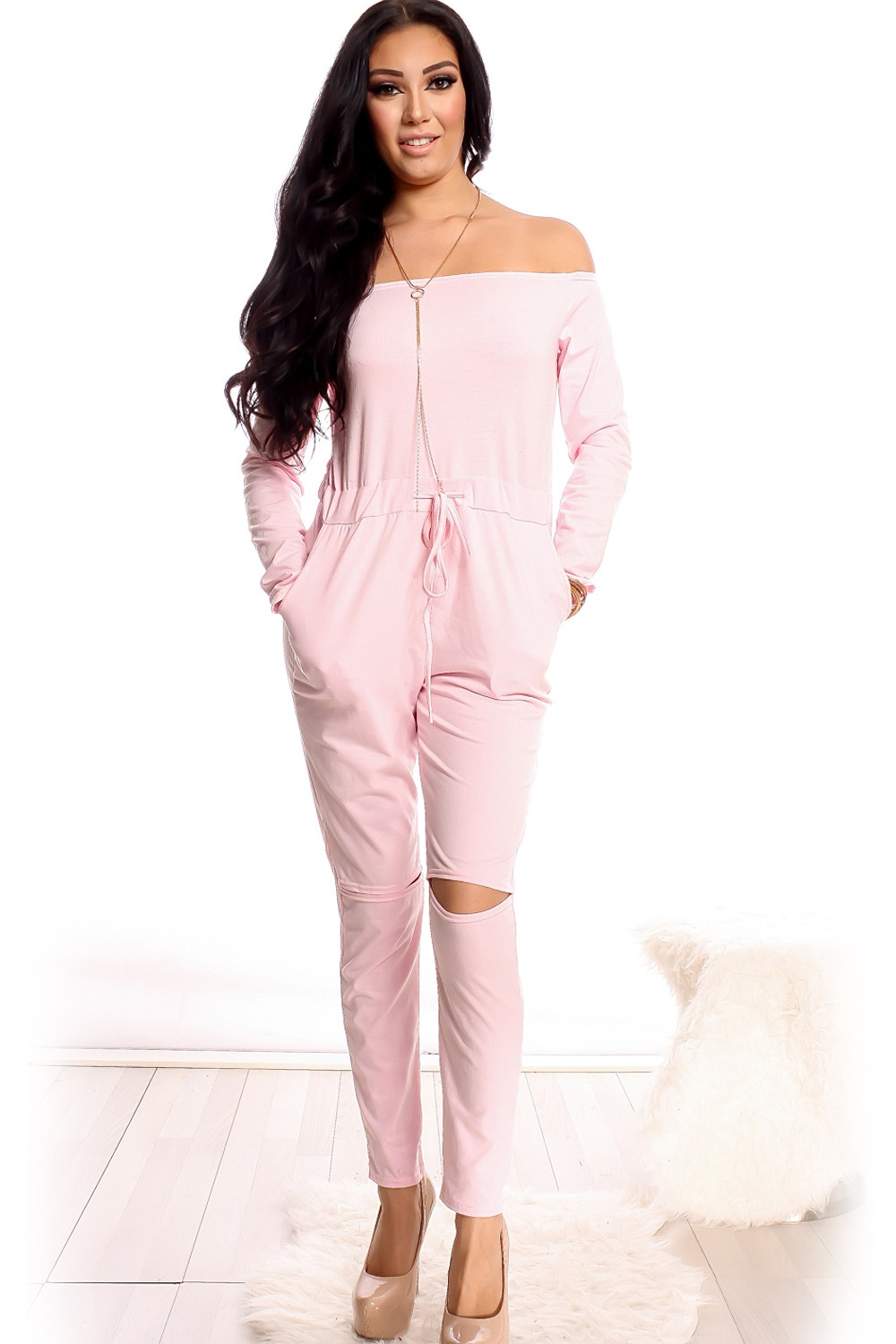 pink jumpsuit off the shoulder long sleeve cutout knees drawstring bnncxxr
