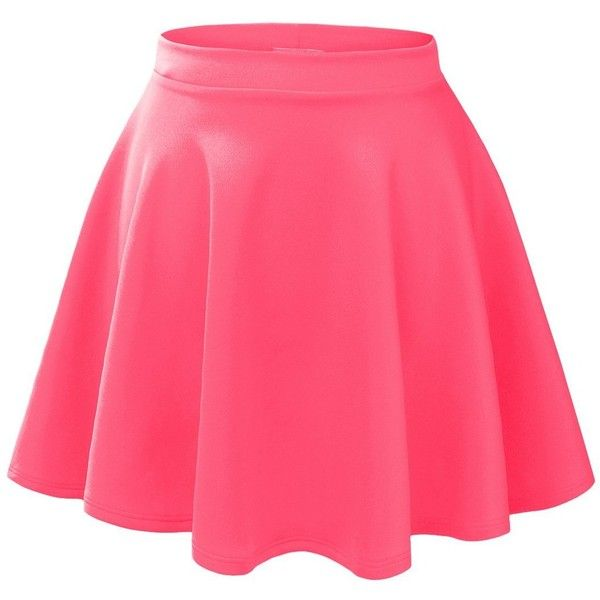 pink skirt le3no womens basic versatile stretchy flared skater skirt ($35) ❤ liked on kgdbupo