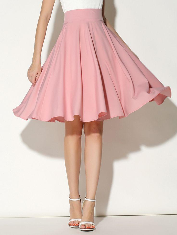 pink skirt pink high waist midi skater skirt rgwviag