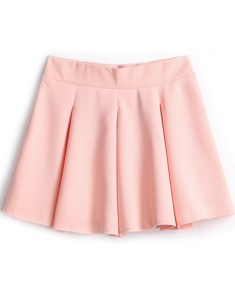 pink skirt pink simple design pleated skirt -shein(sheinside) tbptfab