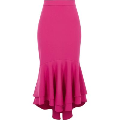 pink skirt pink tiered frill fishtail pencil skirt zkxfwoh