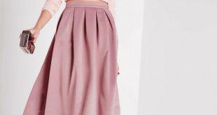 pink skirt satin pleat waistband full midi skirt mauve zjpeigk