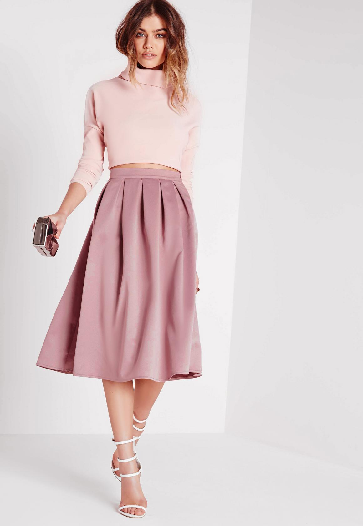 pink skirt satin pleat waistband full midi skirt mauve zjpeigk