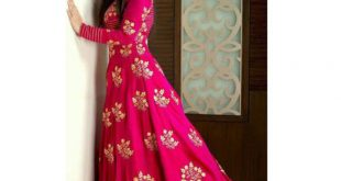 pink tafeta embroidered semi stitiched party wear gowns dkoassz