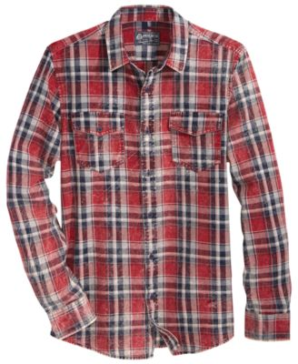 plaid shirts american rag menu0027s cipher distressed plaid shirt, created for macyu0027s kopuvev