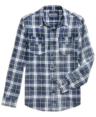 plaid shirts american rag menu0027s distressed plaid shirt, created for macyu0027s dhvwuet