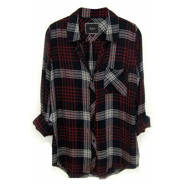 plaid shirts rails hunter plaid shirt in indigo/white ($128) ❤ liked on polyvore  featuring wlprqlh