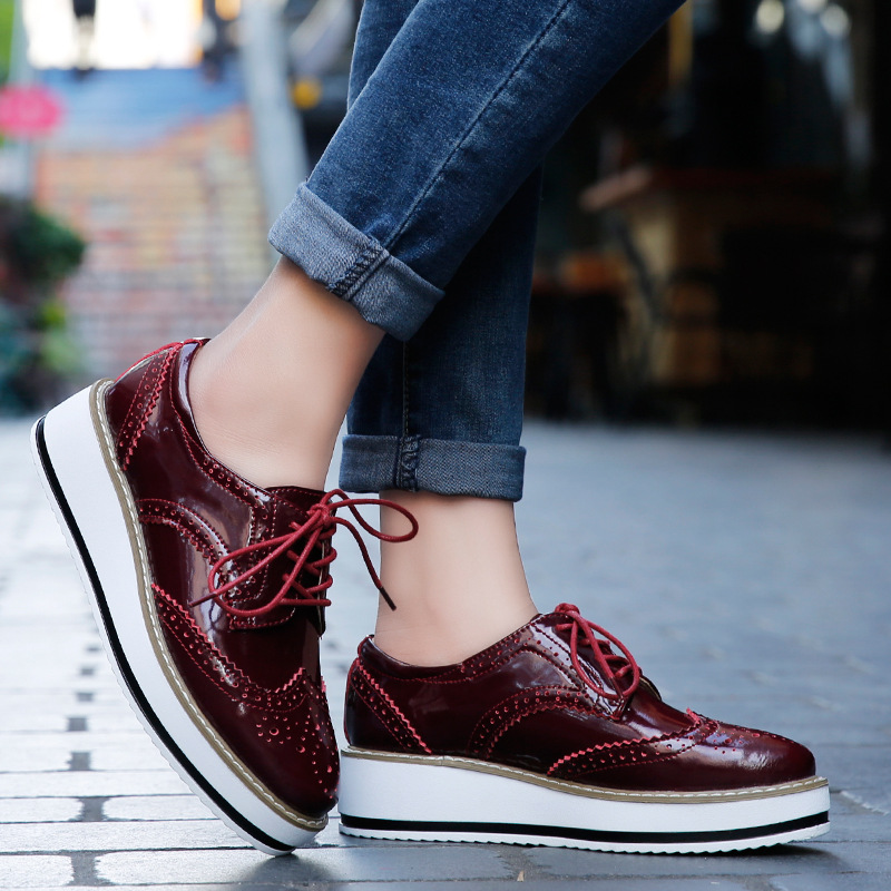 platform shoes for women ygf genuine leather flats platform shoes women classic brogues oxford shoes  for cclkekr